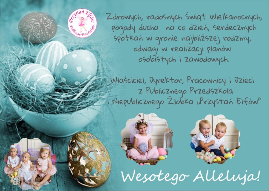 Zdrowych, radosnych Świąt Wielkanocnych, pogody ducha na co dzień, serdecznych spotkań w gronie najbliższej rodziny, odwagi w realizacji planów osobistych i zawodowych.